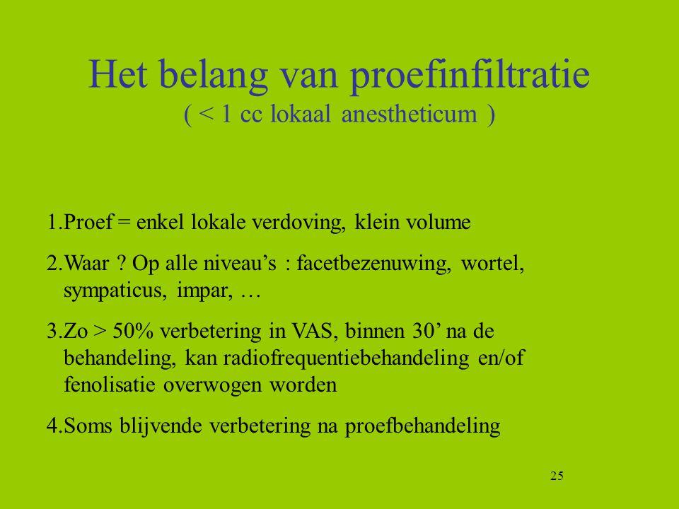 25 Het belang van proefinfiltratie ( < 1 cc lokaal anestheticum ) 1.Proef = enkel lokale verdoving, klein volume 2.Waar ? Op alle niveau's : facetbeze