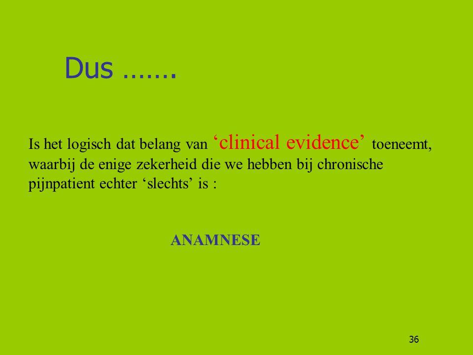 36 Dus ……. Is het logisch dat belang van 'clinical evidence' toeneemt, waarbij de enige zekerheid die we hebben bij chronische pijnpatient echter 'sle