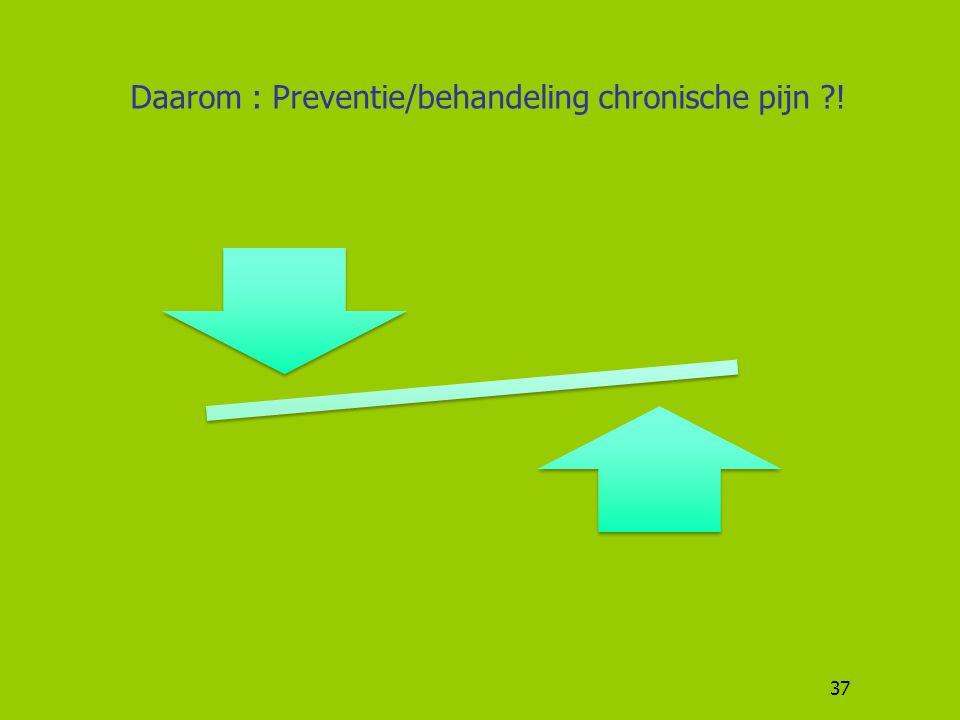 37 Daarom : Preventie/behandeling chronische pijn ?!