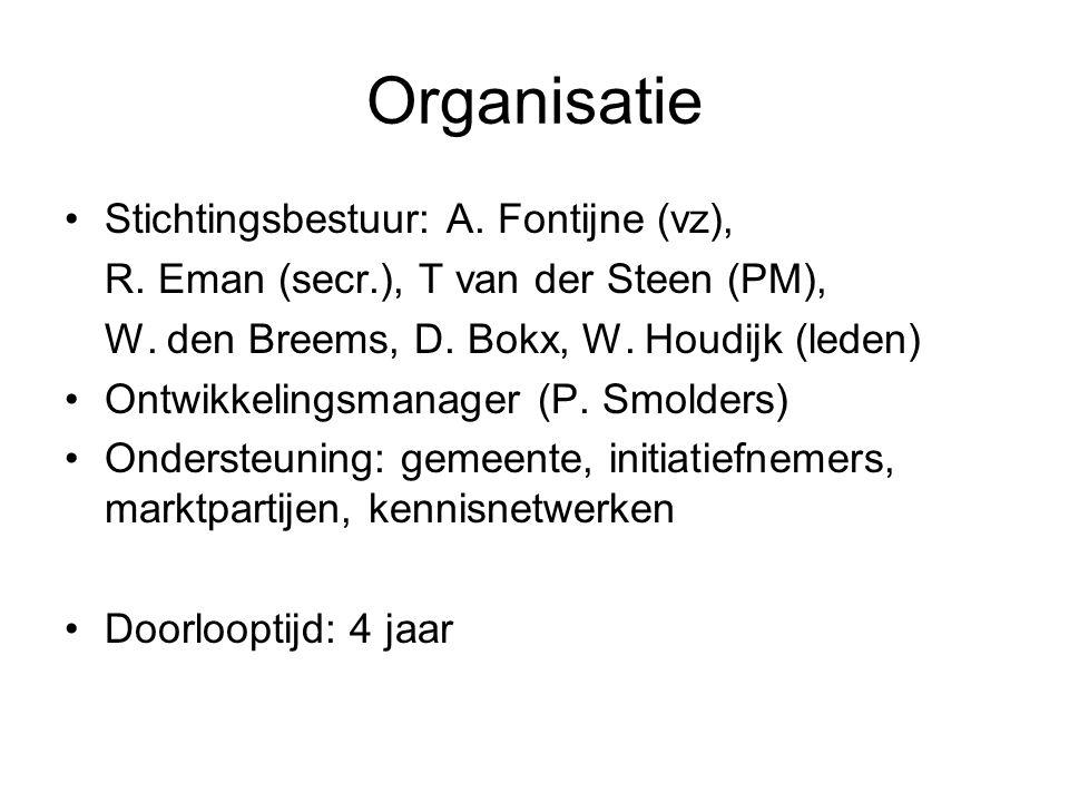 Organisatie Stichtingsbestuur: A. Fontijne (vz), R. Eman (secr.), T van der Steen (PM), W. den Breems, D. Bokx, W. Houdijk (leden) Ontwikkelingsmanage
