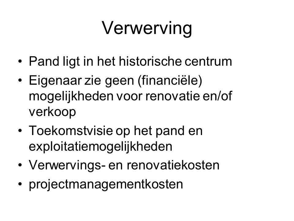 Verwerving Pand ligt in het historische centrum Eigenaar zie geen (financiële) mogelijkheden voor renovatie en/of verkoop Toekomstvisie op het pand en
