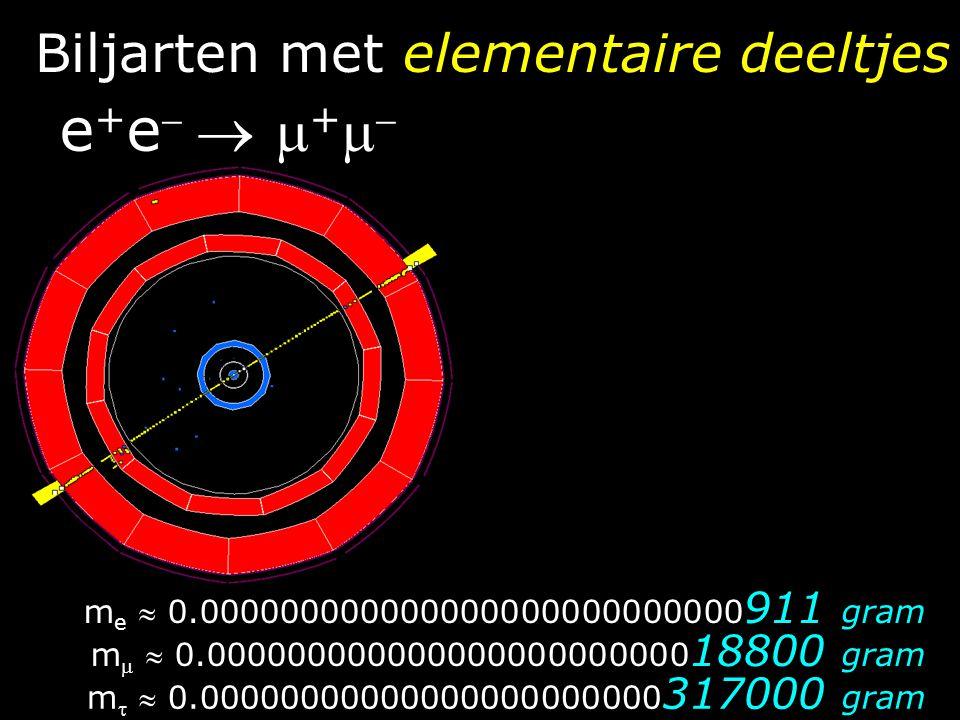 Biljarten met elementaire deeltjes e + e   e + e  m e  0.000000000000000000000000000 911 gram