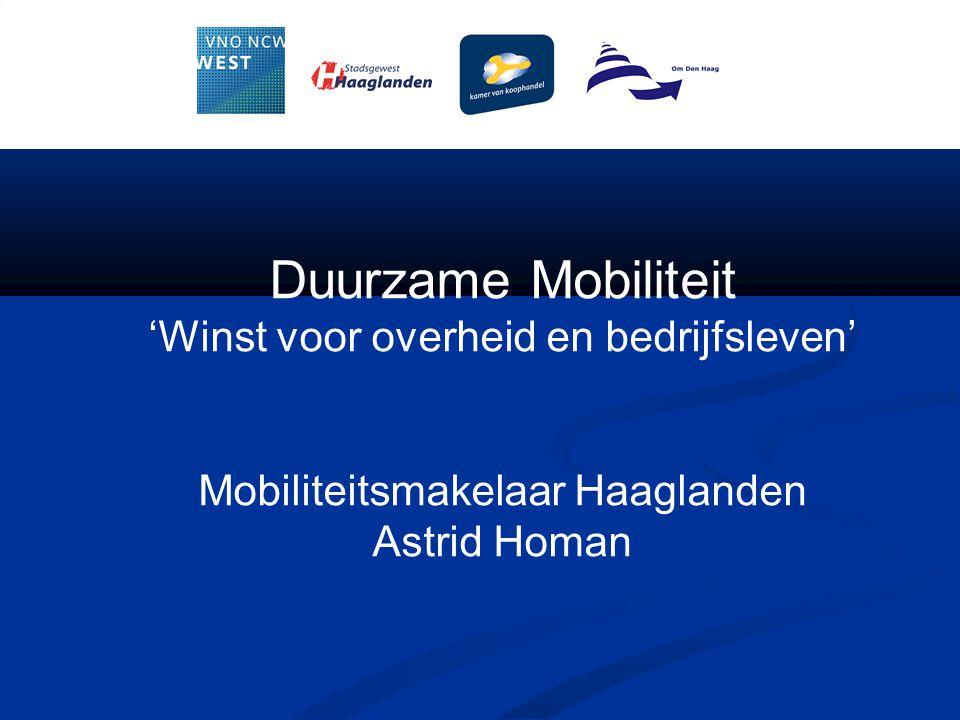 Duurzame Mobiliteit 'Winst voor overheid en bedrijfsleven' Mobiliteitsmakelaar Haaglanden Astrid Homan