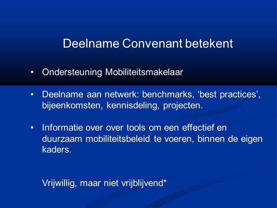 Deelname Convenant betekent Ondersteuning Mobiliteitsmakelaar Deelname aan netwerk: benchmarks, 'best practices', bijeenkomsten, kennisdeling, project