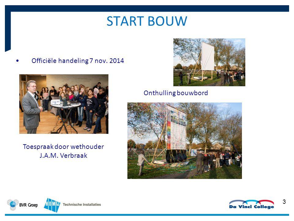START BOUW Officiële handeling 7 nov. 2014 3 Onthulling bouwbord Toespraak door wethouder J.A.M.