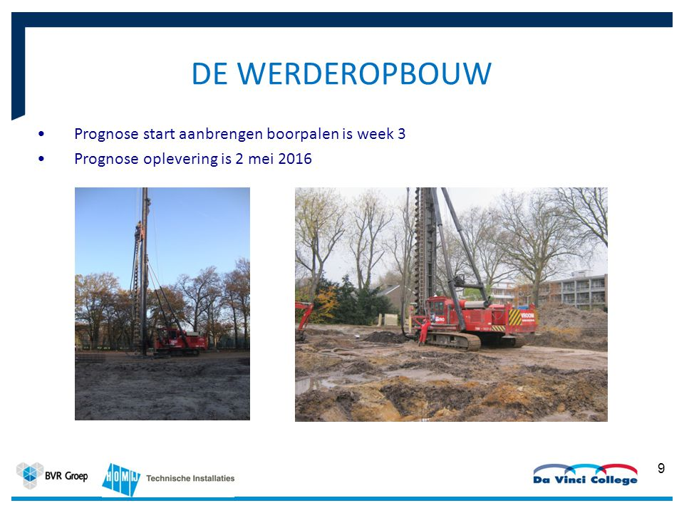 Prognose start aanbrengen boorpalen is week 3 Prognose oplevering is 2 mei 2016 9 DE WERDEROPBOUW