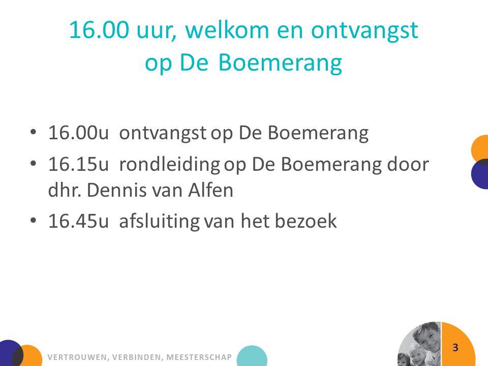 16.00 uur, welkom en ontvangst op DeBoemerang 3 16.00u ontvangst op De Boemerang 16.15u rondleiding op De Boemerang door dhr. Dennis van Alfen 16.45u