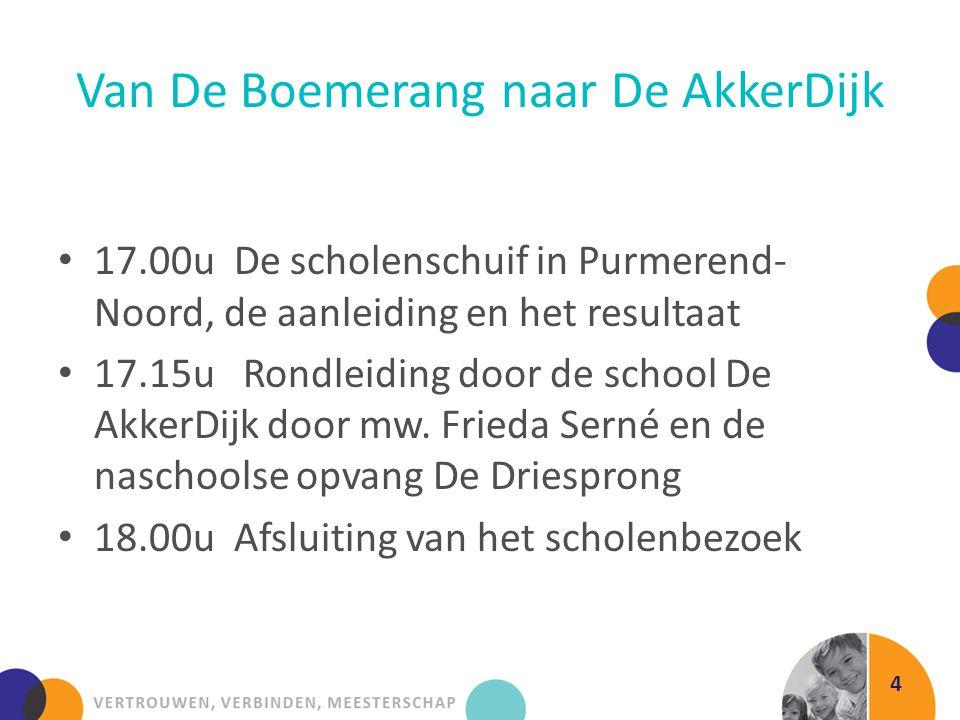 Van De Boemerang naar De AkkerDijk 17.00u De scholenschuif in Purmerend- Noord, de aanleiding en het resultaat 17.15u Rondleiding door de school De Ak