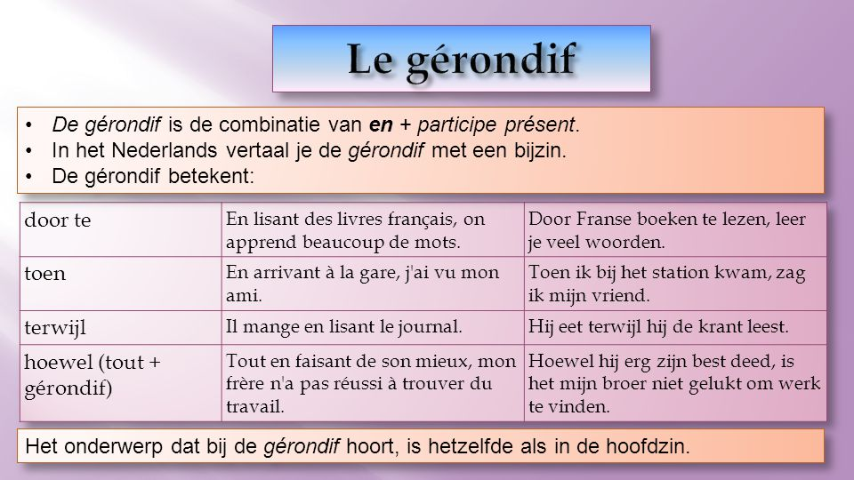 De gérondif is de combinatie van en + participe présent. In het Nederlands vertaal je de gérondif met een bijzin. De gérondif betekent: De gérondif is