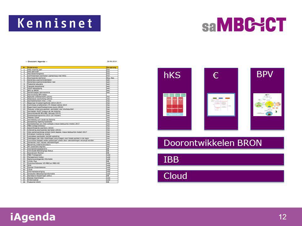 12 Doorontwikkelen BRON IBB Cloud iAgenda BPV hKS €