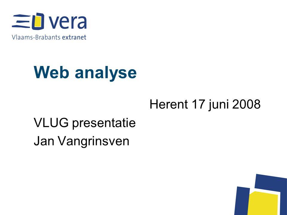 Anaylse tools Webalizer : onderdeel van LIPS –Geen duidelijke uitfiltering van CSS, JS en andere pagina's –Geen duidelijke uitfiltering van zoekrobotten –Te bereiken : www.mijngemeente.be/statswww.mijngemeente.be/stats –Login en paswoord zouden jullie al hebben Vandaag : Google analytics –Overzichterlijker –Meer info –Makkelijker te interpreteren –Te bereiken : http://analytics.google.comhttp://analytics.google.com –Je hebt wel een Google account nodig (waar je nog zoveel andere dingen mee kan doen)