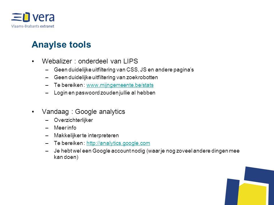 Google analytics : Algemeen VERA zorgde er reeds voor dat elke site opgenomen wordt in Google Analytics door een stukje code in jullie site te plakken.