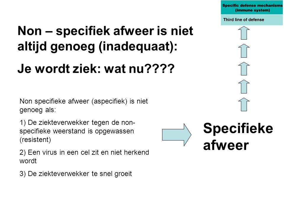 Non specifieke afweer (aspecifiek) is niet genoeg als: 1) De ziekteverwekker tegen de non- specifieke weerstand is opgewassen (resistent) 2) Een virus