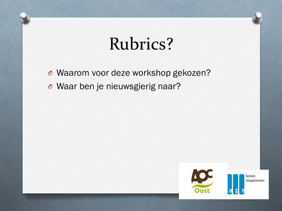 Rubrics O Waarom voor deze workshop gekozen O Waar ben je nieuwsgierig naar