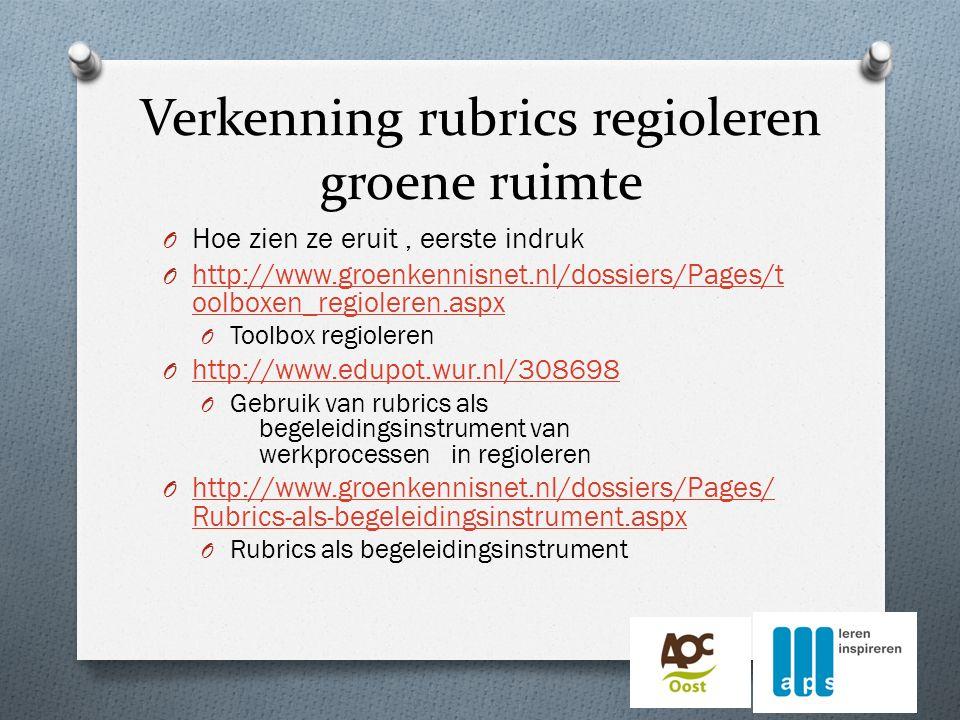 Verkenning rubrics regioleren groene ruimte O Hoe zien ze eruit, eerste indruk O http://www.groenkennisnet.nl/dossiers/Pages/t oolboxen_regioleren.aspx http://www.groenkennisnet.nl/dossiers/Pages/t oolboxen_regioleren.aspx O Toolbox regioleren O http://www.edupot.wur.nl/308698 http://www.edupot.wur.nl/308698 O Gebruik van rubrics als begeleidingsinstrument van werkprocessen in regioleren O http://www.groenkennisnet.nl/dossiers/Pages/ Rubrics-als-begeleidingsinstrument.aspx http://www.groenkennisnet.nl/dossiers/Pages/ Rubrics-als-begeleidingsinstrument.aspx O Rubrics als begeleidingsinstrument