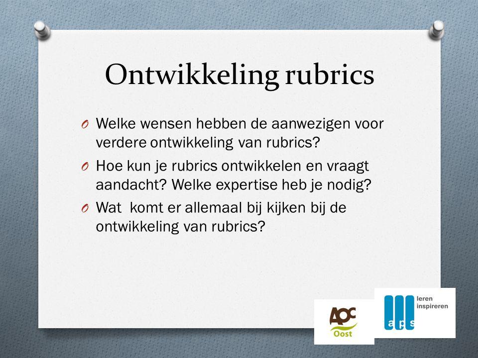 Ontwikkeling rubrics O Welke wensen hebben de aanwezigen voor verdere ontwikkeling van rubrics.