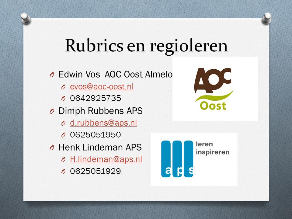 Rubrics en regioleren O Edwin Vos AOC Oost Almelo O evos@aoc-oost.nl evos@aoc-oost.nl O 0642925735 O Dimph Rubbens APS O d.rubbens@aps.nl d.rubbens@aps.nl O 0625051950 O Henk Lindeman APS O H.lindeman@aps.nl H.lindeman@aps.nl O 0625051929