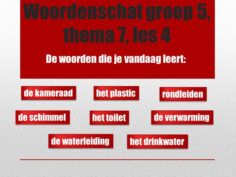 Woordenschat groep 5, thema 7, les 4 De woorden die je vandaag leert: de schimmel de waterleiding de verwarming het drinkwater het plastic het toilet