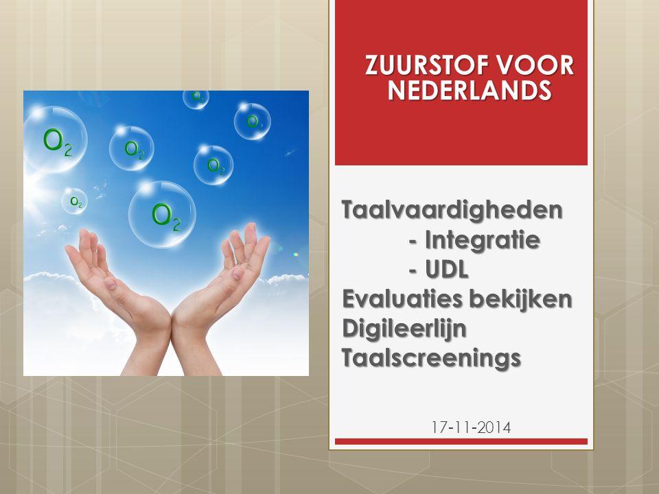 Taalvaardigheden - Integratie - UDL Evaluaties bekijken Digileerlijn Taalscreenings 17-11-2014 ZUURSTOF VOOR NEDERLANDS