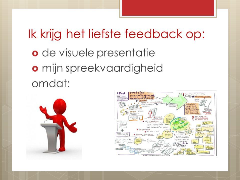 Ik krijg het liefste feedback op:  de visuele presentatie  mijn spreekvaardigheid omdat: