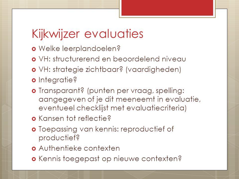Kijkwijzer evaluaties  Welke leerplandoelen.
