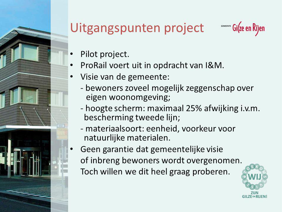Uitgangspunten project Pilot project. ProRail voert uit in opdracht van I&M. Visie van de gemeente: - bewoners zoveel mogelijk zeggenschap over eigen