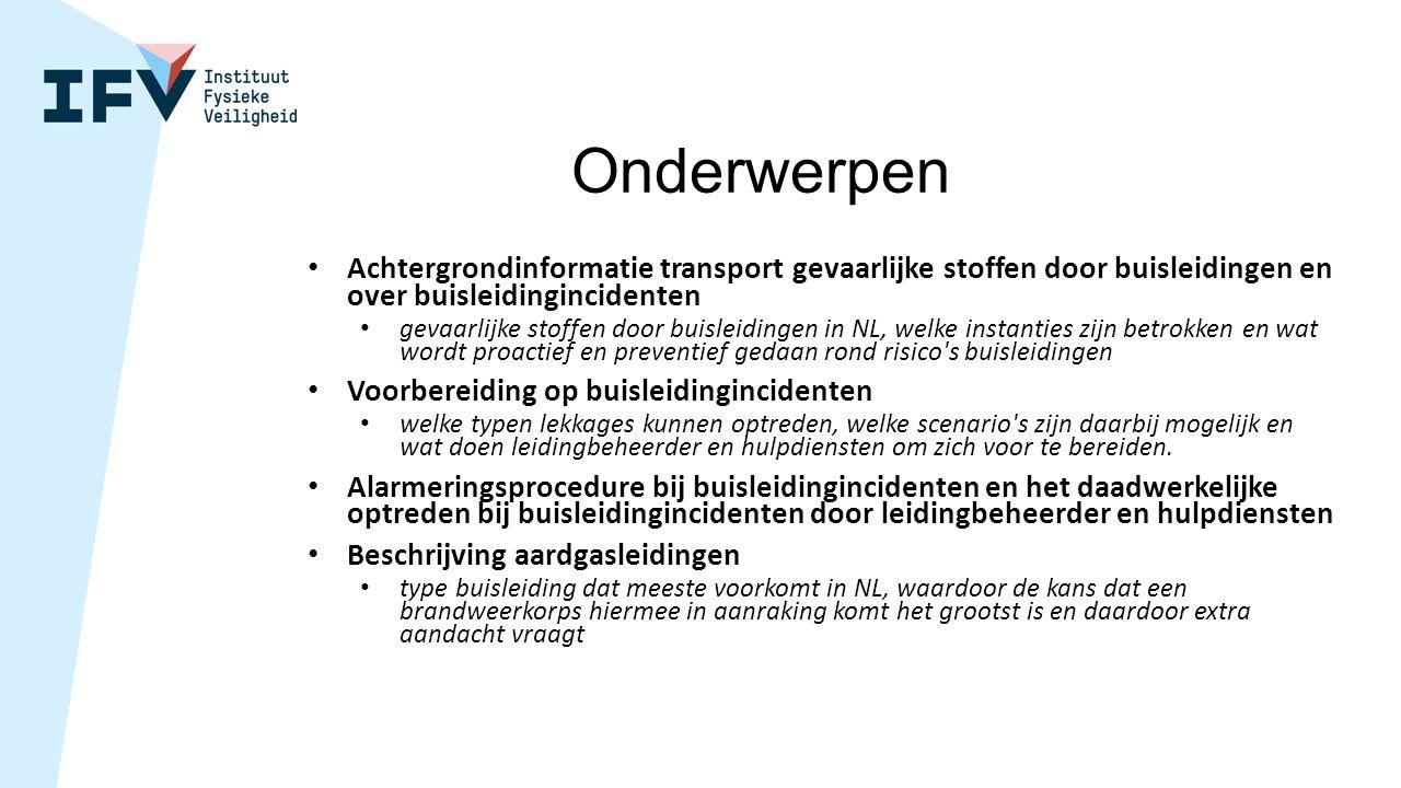 Onderwerpen Achtergrondinformatie transport gevaarlijke stoffen door buisleidingen en over buisleidingincidenten gevaarlijke stoffen door buisleidinge
