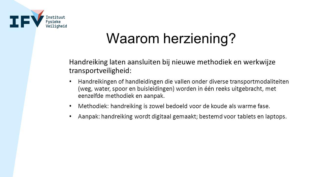 Waarom herziening? Handreiking laten aansluiten bij nieuwe methodiek en werkwijze transportveiligheid: Handreikingen of handleidingen die vallen onder