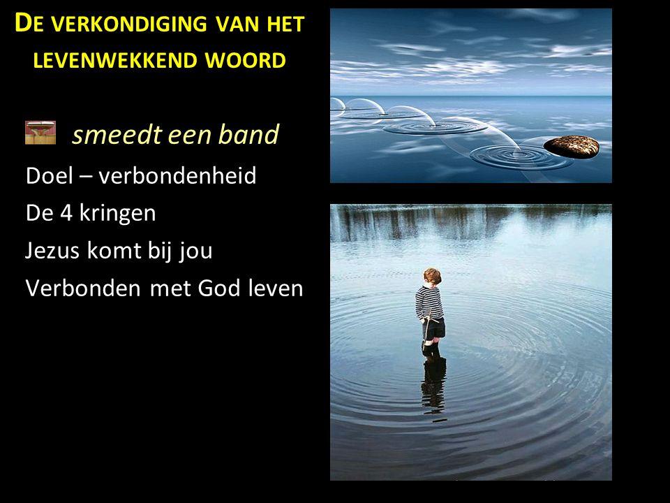 smeedt een band Doel – verbondenheid De 4 kringen Jezus komt bij jou Verbonden met God leven D E VERKONDIGING VAN HET LEVENWEKKEND WOORD