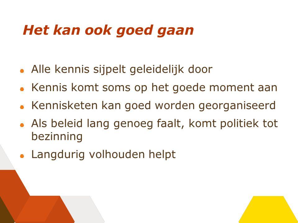 Voorbeelden waar het goed is gegaan Doorstroming in het onderwijs Arbeidsongeschiktheid Alternatieve sancties Ondernemerschap Rookbeleid Wijkbeheer Rotterdam