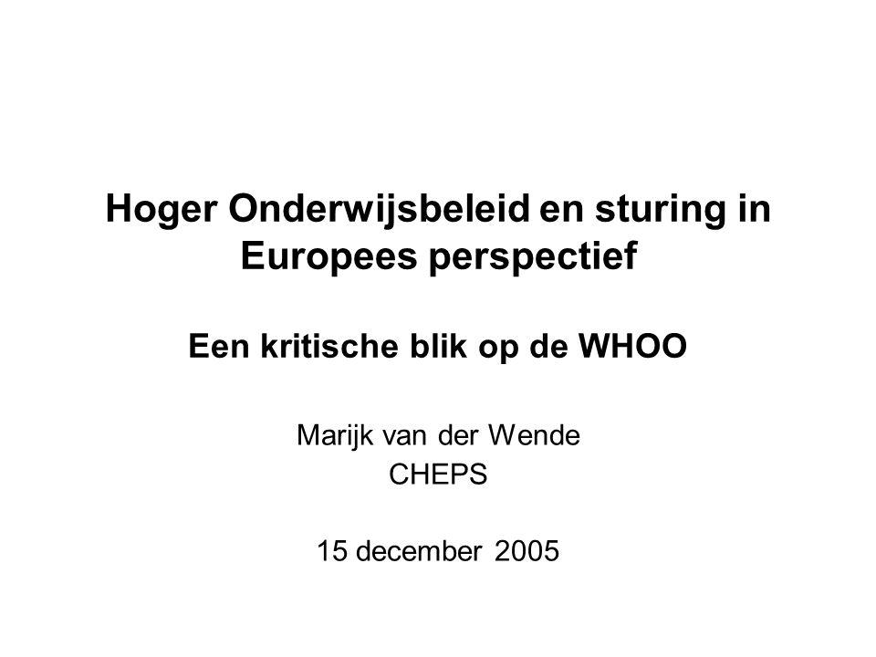 Hoger Onderwijsbeleid en sturing in Europees perspectief Een kritische blik op de WHOO Marijk van der Wende CHEPS 15 december 2005