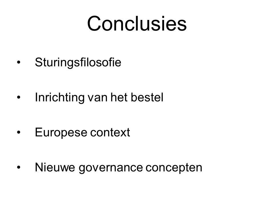 Conclusies Sturingsfilosofie Inrichting van het bestel Europese context Nieuwe governance concepten