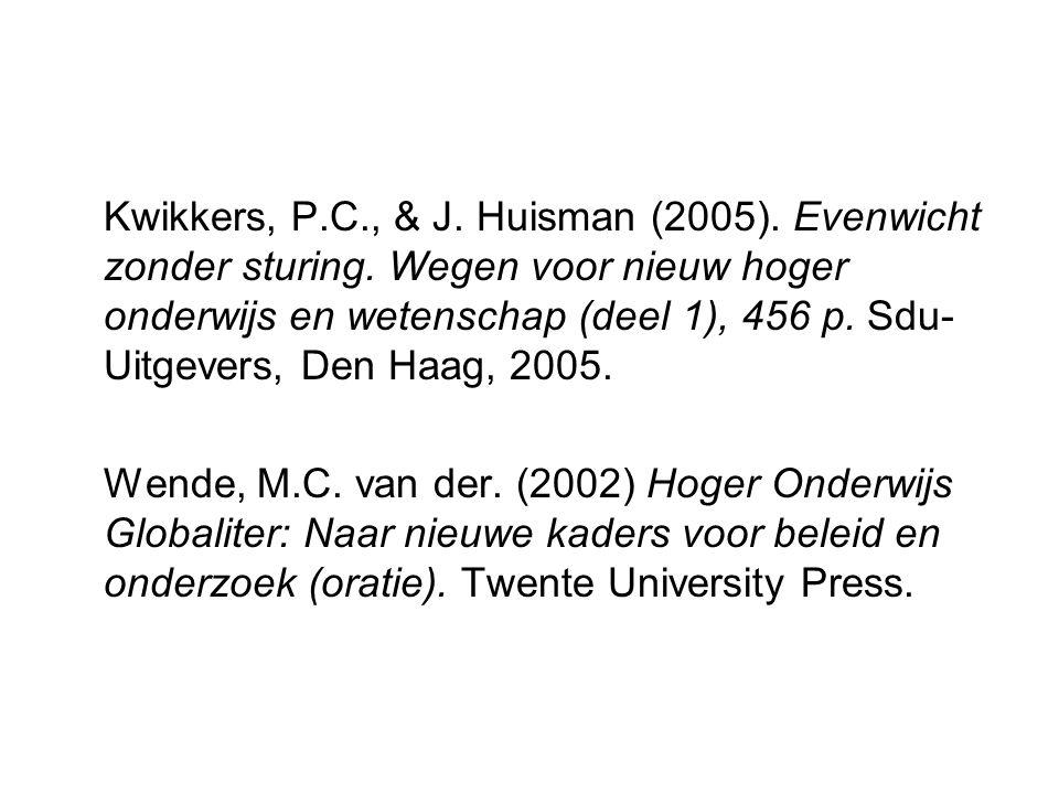 Kwikkers, P.C., & J. Huisman (2005). Evenwicht zonder sturing.
