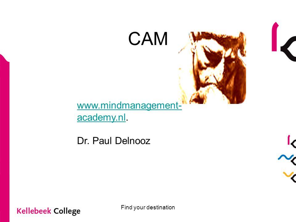CAM Find your destination www.mindmanagement- academy.nlwww.mindmanagement- academy.nl.