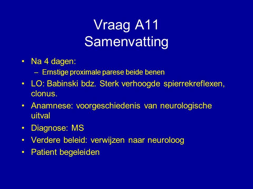 Vraag A11 Samenvatting Na 4 dagen: –Ernstige proximale parese beide benen LO: Babinski bdz. Sterk verhoogde spierrekreflexen, clonus. Anamnese: voorge