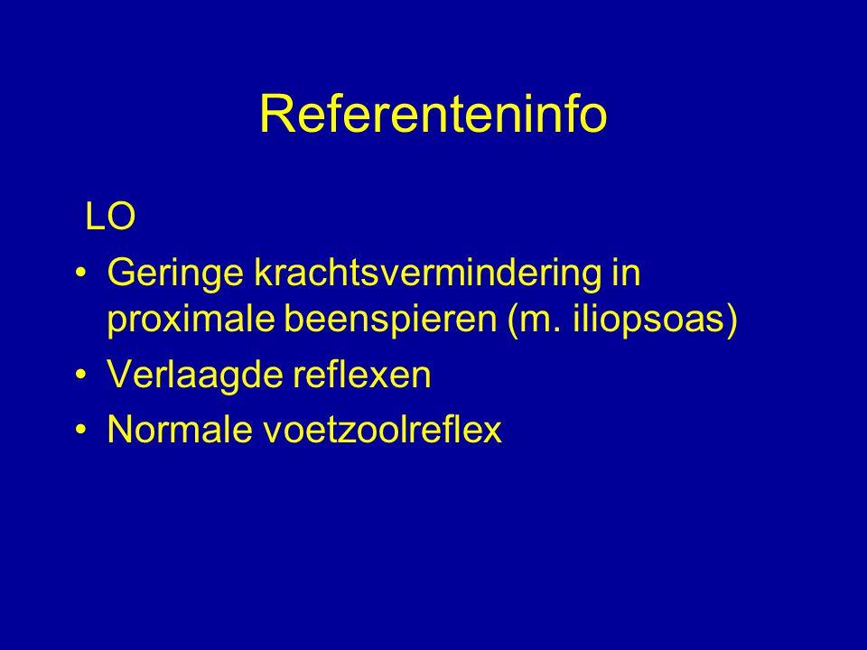 Referenteninfo LO Geringe krachtsvermindering in proximale beenspieren (m. iliopsoas) Verlaagde reflexen Normale voetzoolreflex