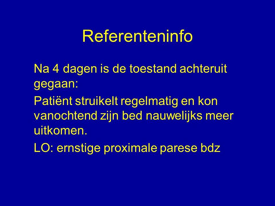Referenteninfo Na 4 dagen is de toestand achteruit gegaan: Patiënt struikelt regelmatig en kon vanochtend zijn bed nauwelijks meer uitkomen. LO: ernst