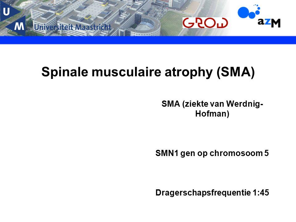 Spinale musculaire atrophy (SMA) SMA (ziekte van Werdnig- Hofman) SMN1 gen op chromosoom 5 Dragerschapsfrequentie 1:45