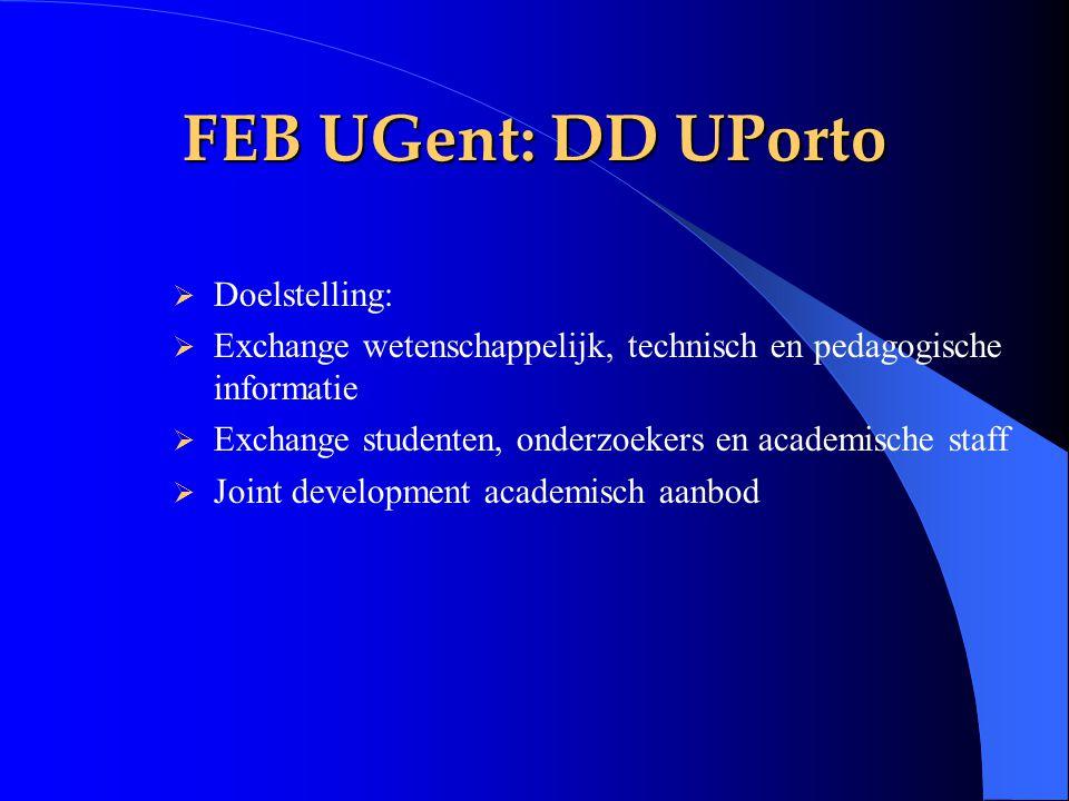 FEB UGent: DD UPorto  Doelstelling:  Exchange wetenschappelijk, technisch en pedagogische informatie  Exchange studenten, onderzoekers en academisc