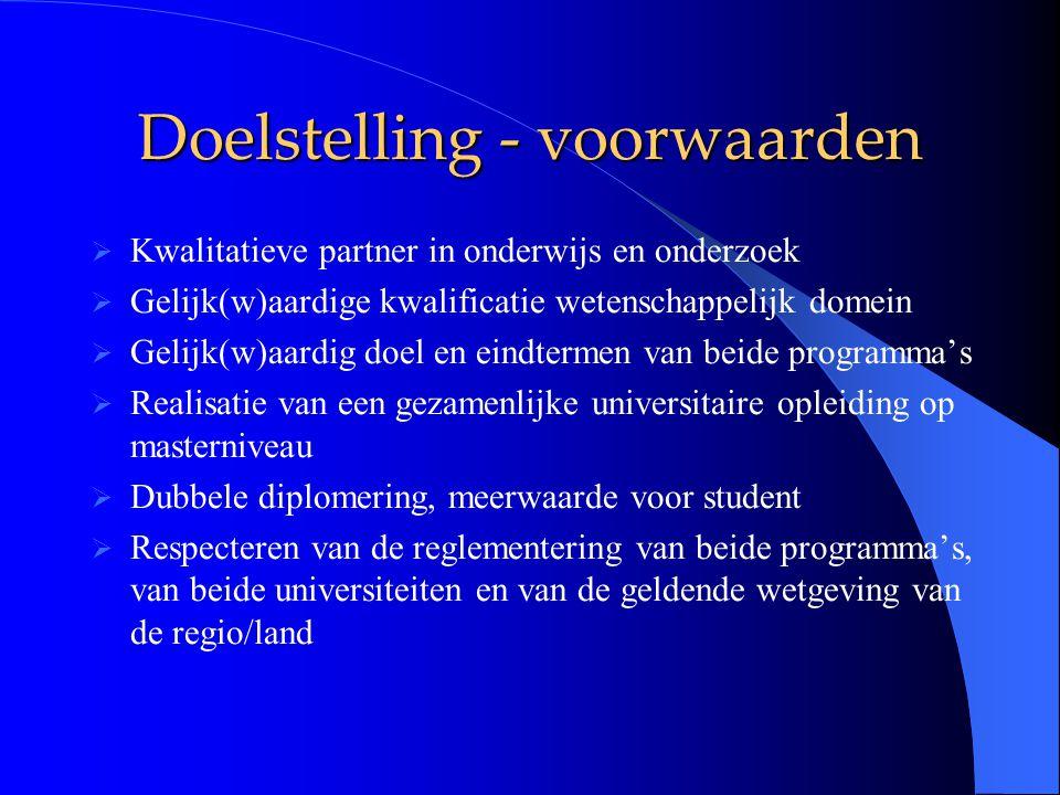 Doelstelling - voorwaarden  Kwalitatieve partner in onderwijs en onderzoek  Gelijk(w)aardige kwalificatie wetenschappelijk domein  Gelijk(w)aardig