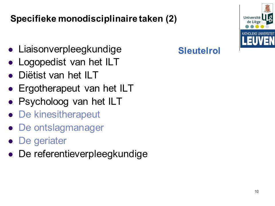 10 Specifieke monodisciplinaire taken (2) Liaisonverpleegkundige Logopedist van het ILT Diëtist van het ILT Ergotherapeut van het ILT Psycholoog van h