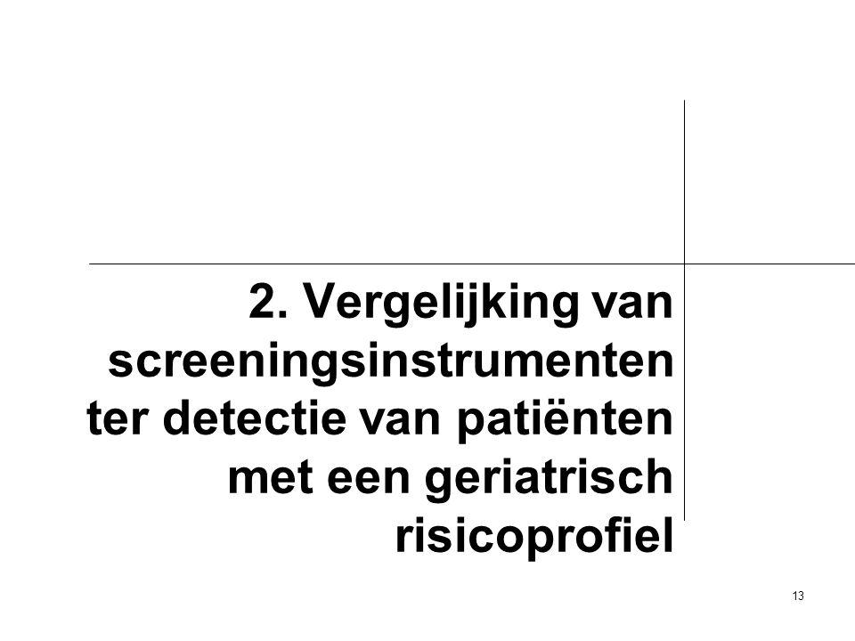 13 2. Vergelijking van screeningsinstrumenten ter detectie van patiënten met een geriatrisch risicoprofiel