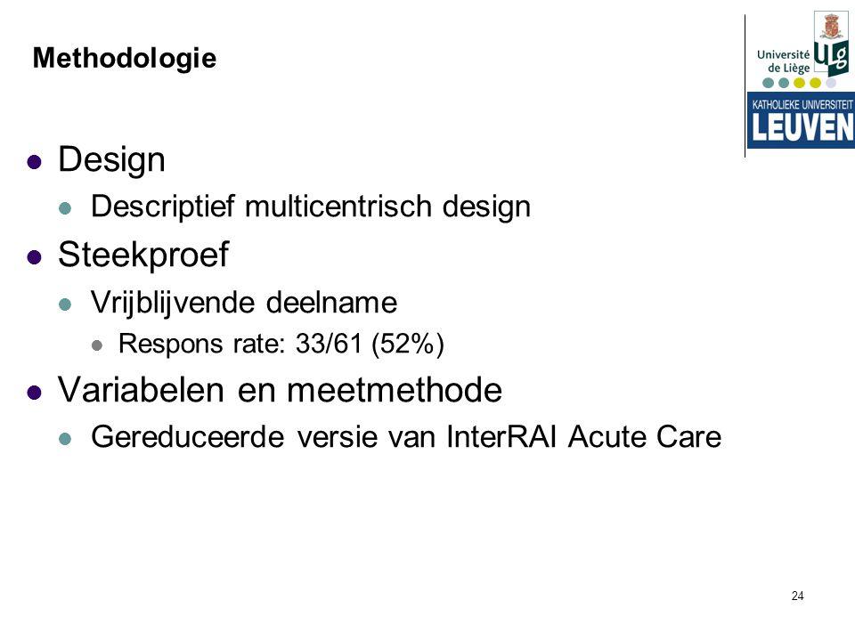 24 Methodologie Design Descriptief multicentrisch design Steekproef Vrijblijvende deelname Respons rate: 33/61 (52%) Variabelen en meetmethode Gereduc