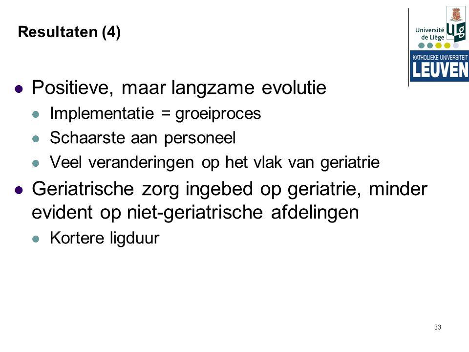 33 Resultaten (4) Positieve, maar langzame evolutie Implementatie = groeiproces Schaarste aan personeel Veel veranderingen op het vlak van geriatrie G