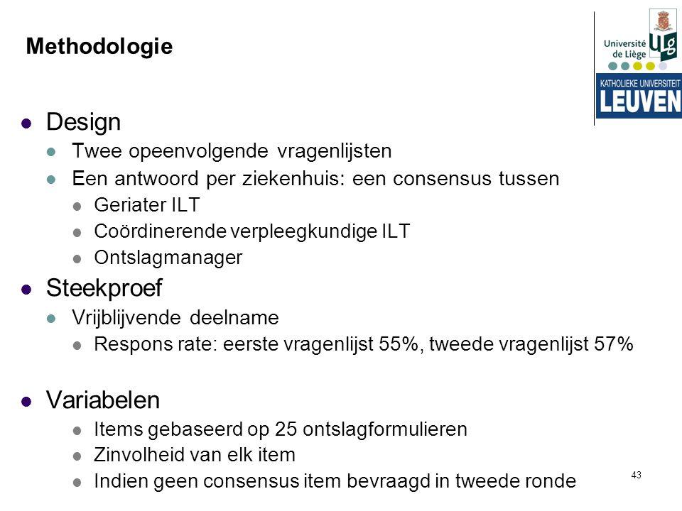 43 Methodologie Design Twee opeenvolgende vragenlijsten Een antwoord per ziekenhuis: een consensus tussen Geriater ILT Coördinerende verpleegkundige I