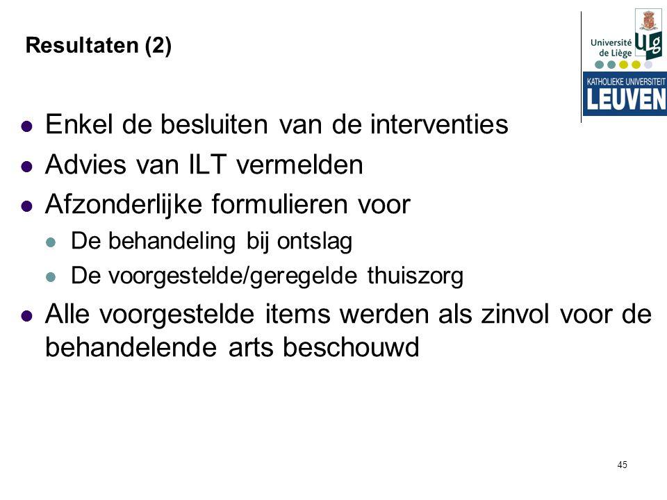 45 Resultaten (2) Enkel de besluiten van de interventies Advies van ILT vermelden Afzonderlijke formulieren voor De behandeling bij ontslag De voorges
