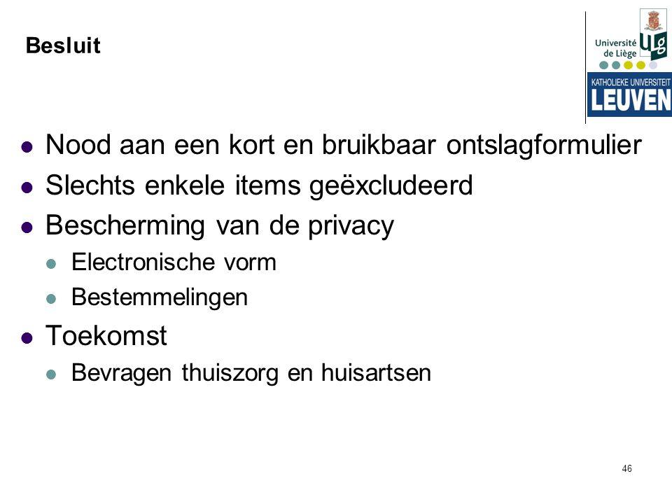 46 Besluit Nood aan een kort en bruikbaar ontslagformulier Slechts enkele items geëxcludeerd Bescherming van de privacy Electronische vorm Bestemmelin
