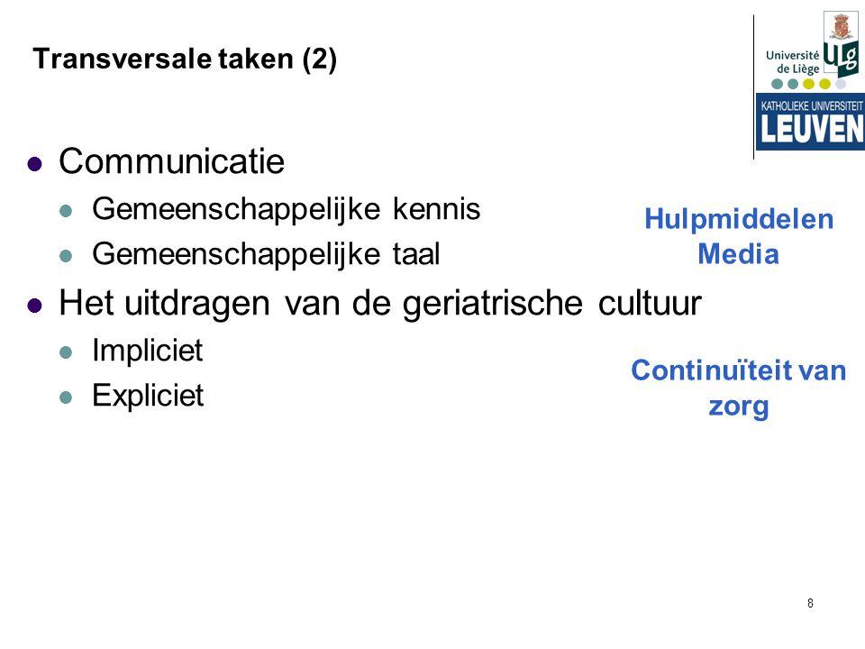 8 Transversale taken (2) Communicatie Gemeenschappelijke kennis Gemeenschappelijke taal Het uitdragen van de geriatrische cultuur Impliciet Expliciet