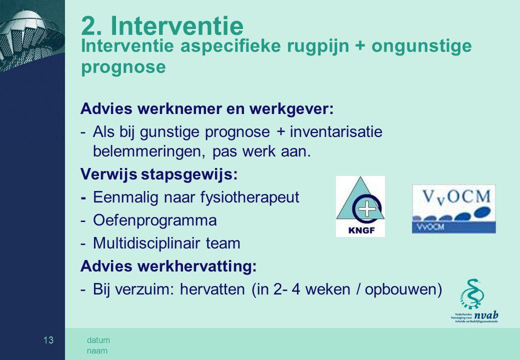 datum naam 13 2. Interventie Interventie aspecifieke rugpijn + ongunstige prognose Advies werknemer en werkgever: -Als bij gunstige prognose + inventa