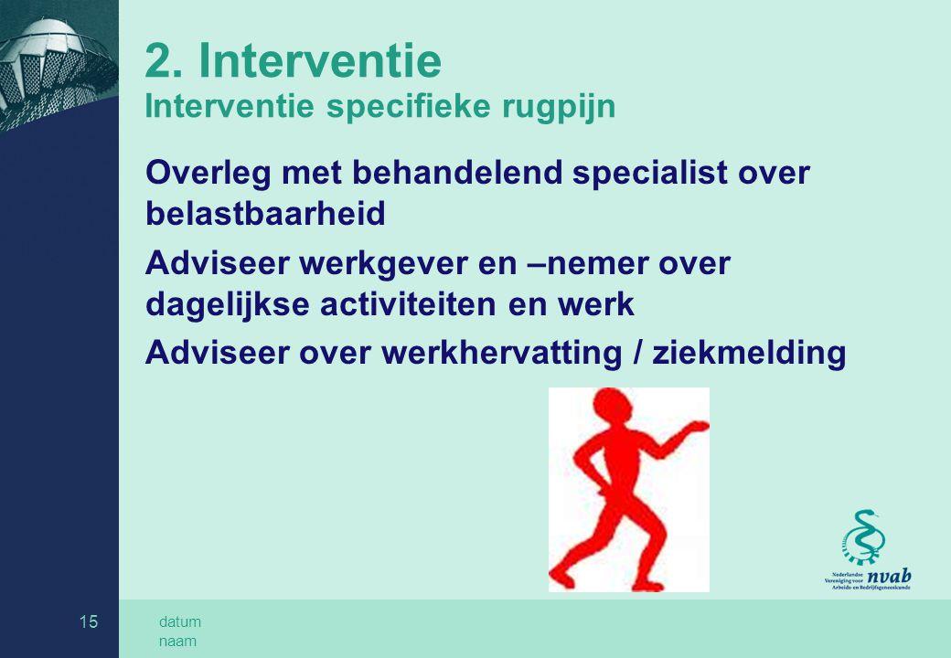 datum naam 15 2. Interventie Interventie specifieke rugpijn Overleg met behandelend specialist over belastbaarheid Adviseer werkgever en –nemer over d